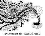 old bronze phonograph doodle... | Shutterstock .eps vector #606067862