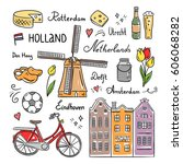netherlands and holland hand... | Shutterstock .eps vector #606068282