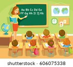teacher and pupils in school... | Shutterstock .eps vector #606075338