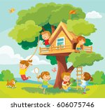 Illustration with summer background, children playing and tree-house | Shutterstock vector #606075746
