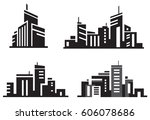 vector city buildings. | Shutterstock .eps vector #606078686