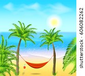 hammock with palm trees on...   Shutterstock .eps vector #606082262