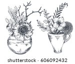 set of floral compositions.... | Shutterstock .eps vector #606092432