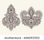 vector set of henna floral... | Shutterstock .eps vector #606092552