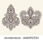 vector set of henna floral...   Shutterstock .eps vector #606092552