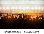 silhouettes of soccer or rugby...   Shutterstock . vector #606093395