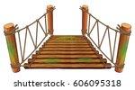 Wooden Bridge On White...