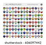 round glossy world flags vector ... | Shutterstock .eps vector #606097442