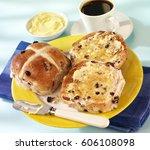 hot cross buns | Shutterstock . vector #606108098