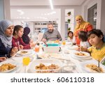 muslim traditional family... | Shutterstock . vector #606110318