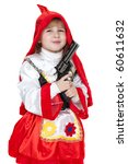 modern Little Red Riding Hood with gun - stock photo