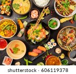 asian food table with various... | Shutterstock . vector #606119378