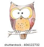 owl watecolor animal... | Shutterstock . vector #606122732