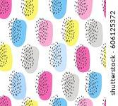 simple memphis cute pattern.... | Shutterstock .eps vector #606125372