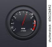 tachometer. black gauge....   Shutterstock . vector #606126842