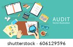 auditing concepts. auditor at... | Shutterstock .eps vector #606129596