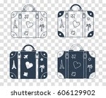 icons of a suitcase for travel... | Shutterstock .eps vector #606129902