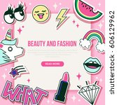 fashion and beauty banner with... | Shutterstock . vector #606129962