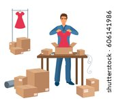 delivery service man packs... | Shutterstock .eps vector #606141986