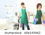 service team cleaning modern... | Shutterstock . vector #606143462
