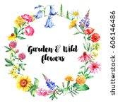 hand drawn watercolor garden... | Shutterstock . vector #606146486