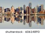 photo of new york city skyline over the hudson river - stock photo