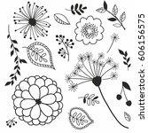 vector set of doodle flowers | Shutterstock .eps vector #606156575