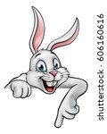 a cartoon white easter bunny or ... | Shutterstock .eps vector #606160616