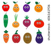 set of smiling fruits and... | Shutterstock .eps vector #606161936