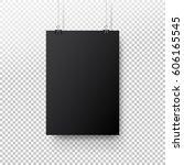 black poster hanging on binder. ... | Shutterstock .eps vector #606165545
