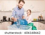 recycling and ecology   happy...   Shutterstock . vector #606168662