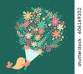 vector illustration with bird...   Shutterstock .eps vector #606169352