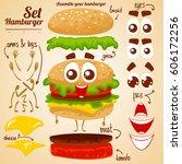 vector set of hamburger.... | Shutterstock .eps vector #606172256