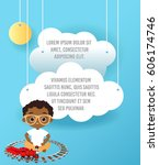 african american boy with... | Shutterstock .eps vector #606174746