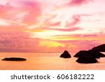 setting into the sea sunset... | Shutterstock . vector #606182222