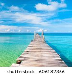jetty to the blue living is... | Shutterstock . vector #606182366