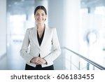 happy elegant business woman in ... | Shutterstock . vector #606183455
