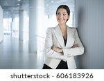 surprised business woman with...   Shutterstock . vector #606183926