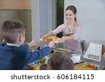 pleasant woman giving lunch to...   Shutterstock . vector #606184115
