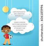 vector paper art of cloud and... | Shutterstock .eps vector #606185996