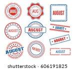 set of various august month... | Shutterstock .eps vector #606191825