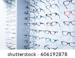 showcase with glasses in modern ... | Shutterstock . vector #606192878