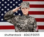 Female Soldier On Usa Flag...