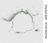 realistic hole in paper on... | Shutterstock .eps vector #606193562