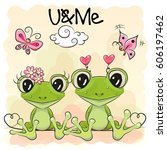 two cute cartoon frogs on... | Shutterstock .eps vector #606197462