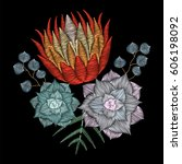 embroidery stitch with protea... | Shutterstock .eps vector #606198092