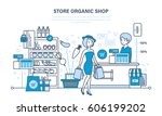 shop organic products  counter... | Shutterstock .eps vector #606199202