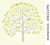 stylized vector tree with birds   Shutterstock .eps vector #606211496