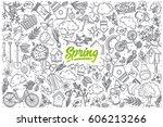 hand drawn spring doodle set... | Shutterstock .eps vector #606213266
