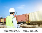 engineer control rail freight... | Shutterstock . vector #606213335